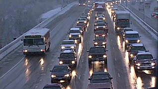 A traffic jam in the winter highlighting the dangers of winter driving