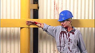 An injured worker in the Forklift Safety Training video
