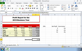 The end results of Calculating Data with Advanced Formulas in Microsoft Excel 2010 in one spreadsheet